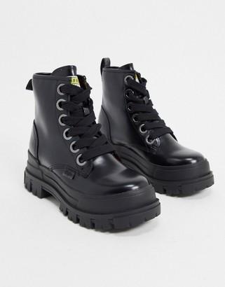 Buffalo David Bitton Aspha vegan lace up chunky heeled boots in black
