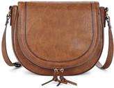 Sole Society Thalia vegan leather saddlebag with braided tassels