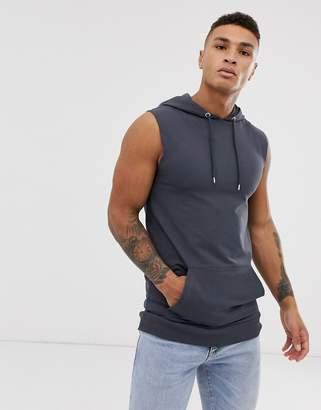 Asos Design DESIGN sleeveless muscle hoodie in dark gray