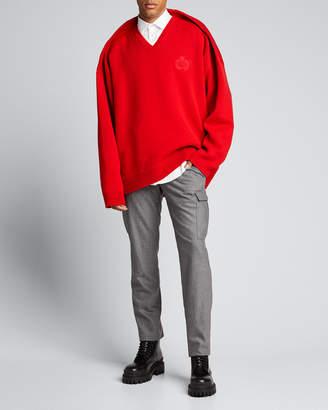 Balenciaga Men's V-Neck Pinched-Shoulder Oversized Sweater