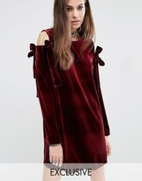 Reclaimed Vintage Velvet Dress With Extreme Bows