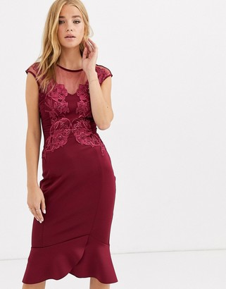 Lipsy embroidered bodycon dress in raspberry red