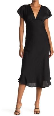 FAVLUX Satin V-Neck Midi Dress