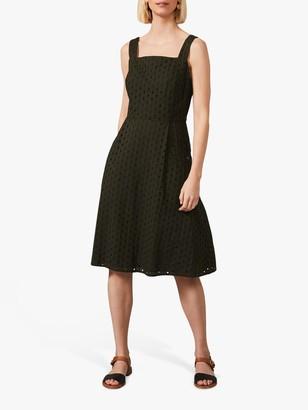 Phase Eight Olymea Cotton Broderie Knee Length Dress, Khaki