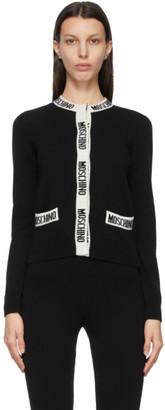 Moschino Black Wool Knit Logo Band Cardigan