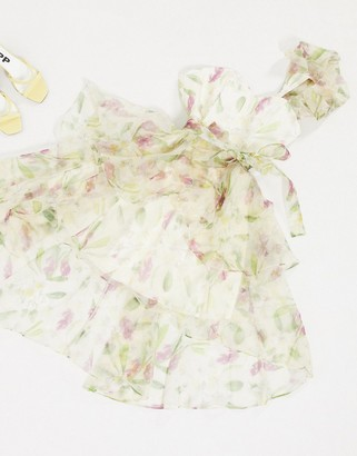 Forever U organza prom dress in floral print