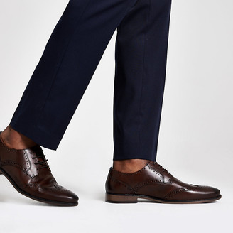 River Island Dark brown leather lace-up brogues