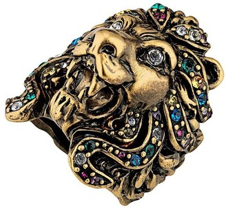 Gucci Lion head ring with multicolor crystals