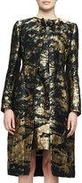 Oscar de la Renta Long-Sleeve Snap-Front Coat, Gold
