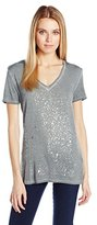 Calvin Klein Jeans Women's Grey Splatter V-Neck T-Shirt