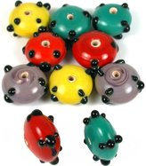 Generic 30 Grams Rondelle Dot Lampwork Round Beads Assorted Mix