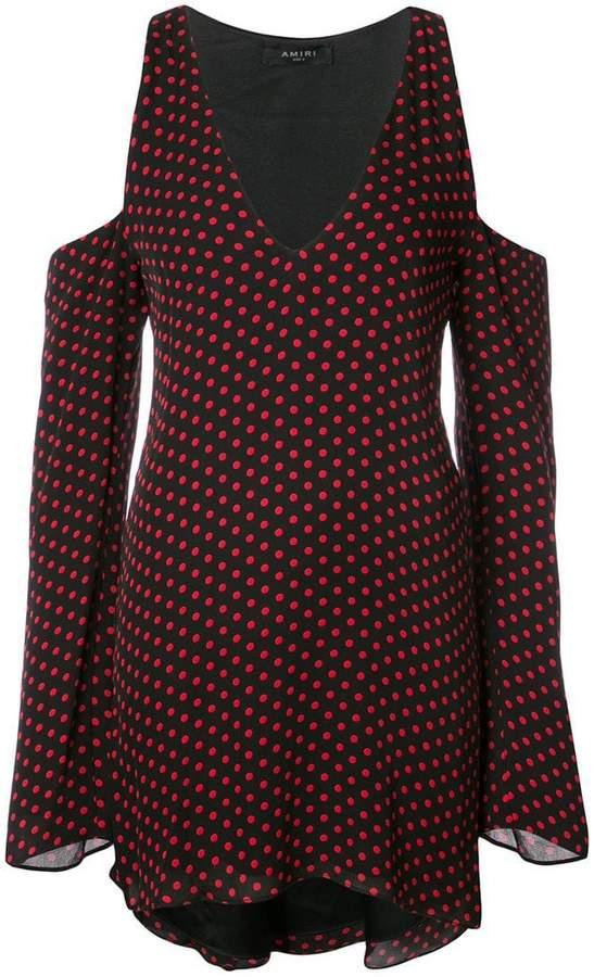 Amiri cold-shoulder polka-dot dress