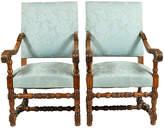 One Kings Lane Vintage 1880s Dutch Renaissance-Style Chairs - Blink Home Vintique - blue/brown