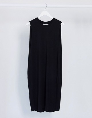 Selected sleeveless midi dress in black
