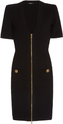 Balmain V-Neck Zip-Front Crepe Mini Dress