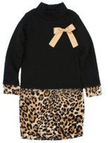Comemall Baby Girls Long Sleeve One Piece Dress Bow Leopard Skirts Costume 2-6Y
