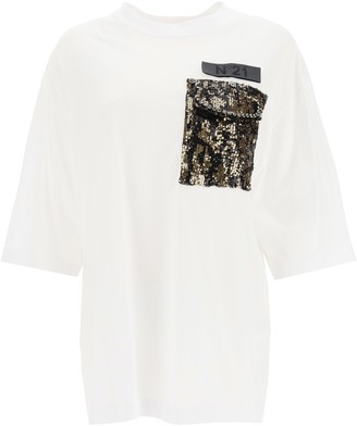 N°21 N.21 T-shirt With Sequined Pocket