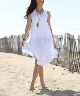 Ananda's Collection Women's Casual Dresses White - White Semisheer Embroidered Sleeveless Dress - Women