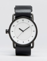 Tid No 1 Leather Watch In Black With White Face