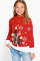 Boohoo Girls Christmas Tree Jumper