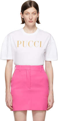 Emilio Pucci White Glitter Logo T-Shirt