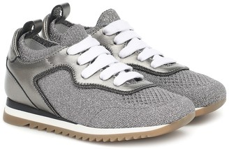 BRUNELLO CUCINELLI KIDS Metallic knit sneakers