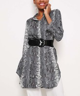 Red Queen Women's Blouses GRAY - Gray & White Snake Button-Up Tunic - Women