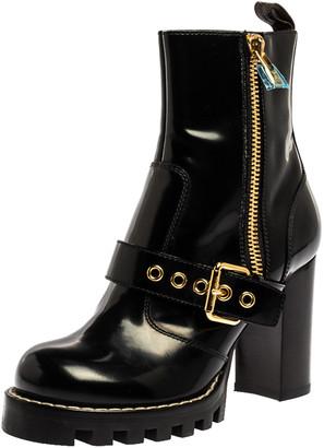 Louis Vuitton Black Leather Buckle Detail Platform Combat Ankle Boots Size 37