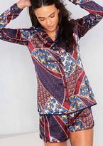 Missy Empire Zara Navy Satin Graphic Printed Long Sleeve Shirt & Shorts Set