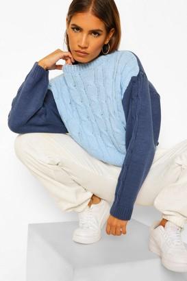 boohoo Petite Colour Block Cable Knit Jumper