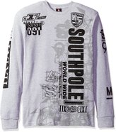 Southpole Men's Long Sleeve Flock and Screen Graphic Tee with Logo, Heather Grey