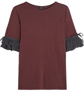 Clu Washed Silk-trimmed Cotton And Modal-blend Jersey Top - Claret
