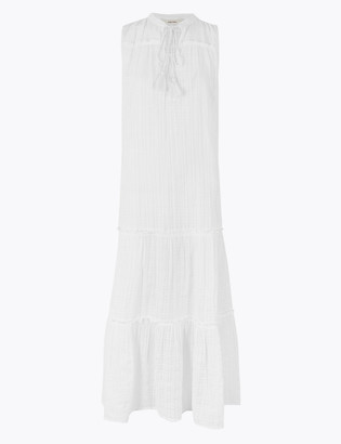 Marks and Spencer Pure Cotton Notch Neck Midaxi Tiered Dress