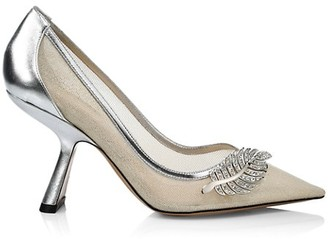 Nicholas Kirkwood Monstera Leaf-Embellished Metallic Leather & Mesh Pumps