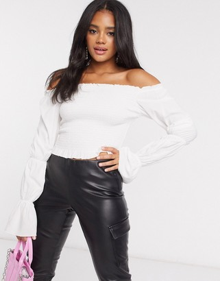NA-KD puff sleeve smocked top in white