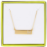 BaubleBar 14K Gold Plated Ice &M& Initial Bar Pendant Necklace