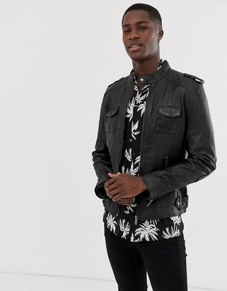 Bolongaro Trevor four pocket real leather jacket-Black