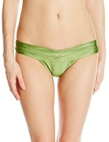 Vix Women's Solid Olive Full Pleats Bikini Bottom