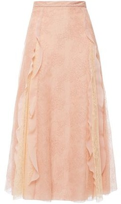 RED Valentino Flared Ruffle-trimmed Corded Lace Midi Skirt