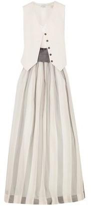 Brunello Cucinelli Belted Striped Herringbone Cotton And Linen-blend, Silk-blend Satin And Organza Maxi Dress