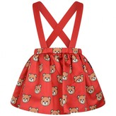 Moschino Girls Red Teddy Print Skirt With Straps