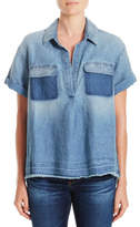 AG Adriano Goldschmied Peter Denim Short Sleeve Shirt With Contrast Pocket