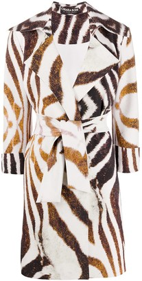 Le Petite Robe Di Chiara Boni Animal Print Belted Coat