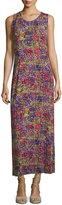 Joan Vass Sleeveless Scoop-Neck Printed Maxi Dress, Patchwork Print