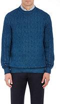 Ermenegildo Zegna Men's Cashmere Cable-Knit Sweater-BLUE