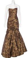 Monique Lhuillier Ruched Silk Gown