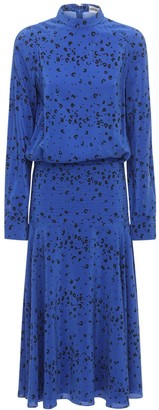 Kenzo Printed Silk Crepe De Chine Midi Dress