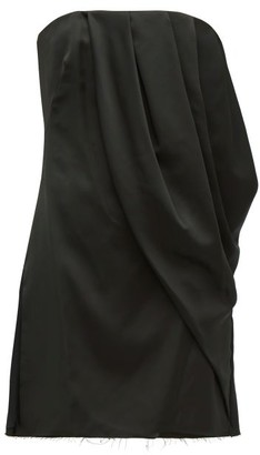 Marina Moscone Draped Satin Bustier Top - Black