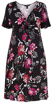 Tribal Ruffle Sleeve Dress w/ Tie Front (Hot Pink) Women's Clothing
