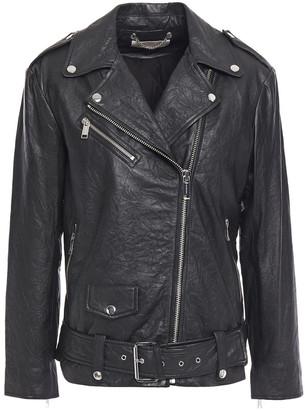 MICHAEL Michael Kors Crinkled Leather Biker Jacket
